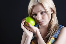 Free Girl With Apple Stock Images - 5337624