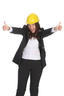 Free Young Businesswoman With Helmet Stock Photography - 5337702