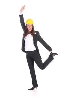 Free Young Businesswoman With Helmet Royalty Free Stock Images - 5338669