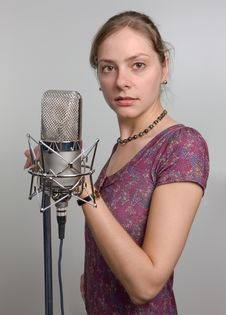 Free Girl With Vintage Microphone Stock Photo - 5339140