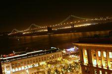 Free Bay Bridge At Night Royalty Free Stock Image - 5339516