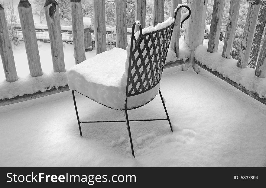 Snow on Deck Chair