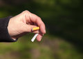 Free Female Hand Breaks A Cigarette Stock Image - 53378391