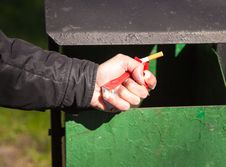 Free Man S Hand Breaks A Pack Of Cigarettes Stock Photos - 53378273