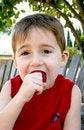 Free Boy Eating Strawberry Ii Royalty Free Stock Photos - 5347998