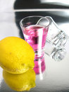 Free Cherry Cocktail Shot And A Lemon Royalty Free Stock Image - 5349776