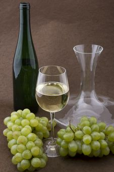 Free White Wine With Bottle, Glasses And Grapes Stock Photo - 5341690
