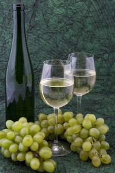 Free White Wine With Bottle, Glasses And Grapes Royalty Free Stock Photo - 5341765