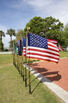 Free Line Of American Flags Stock Image - 5341851