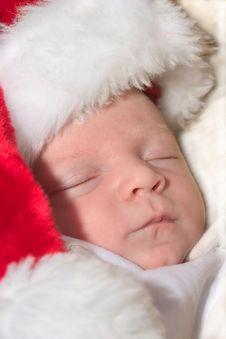 Free Newborn Baby Wearing A Red Santa Hat Royalty Free Stock Photos - 5341998