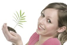 Free A Woman With Plant Royalty Free Stock Images - 5342439
