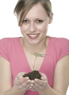 Free A Woman With Plant Royalty Free Stock Photography - 5342747