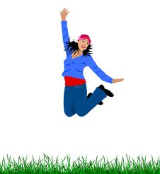 Free Girl Is Jumping For Joy Royalty Free Stock Photography - 5343747