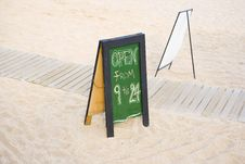 Free Beach Bar Board With Opening Hours Stock Photography - 5344892