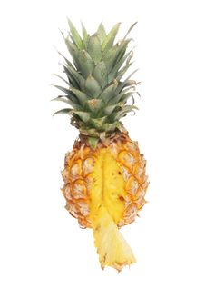 Pineapple With Cut Wedge Stock Images