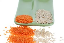 Dried Red Lentil And Wheat Royalty Free Stock Images
