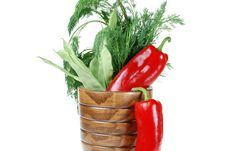 Free Green Beans, Red Pepper And Dill Royalty Free Stock Photos - 5346258