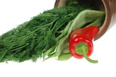 Free Green Beans, Red Pepper And Dill Stock Photography - 5346332