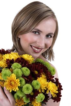 Free Beautiful Blonde Woman With Flowers Stock Photo - 5346840