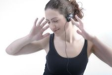Free Woman With Long Curly Hair Enjoying The Music Royalty Free Stock Photo - 5346855