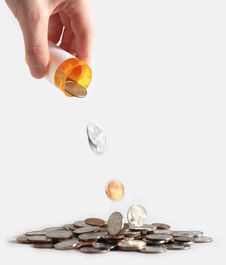 Free Pouring RX Coins Stock Images - 5346984