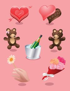 Free Valentines Set Royalty Free Stock Photography - 5347187