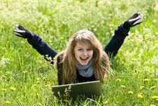 Free Young Model With Laptop On Green Grass Stock Photo - 5347970