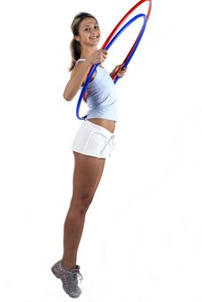 Free Fitness Girl With Two Hoop Stock Images - 5349244