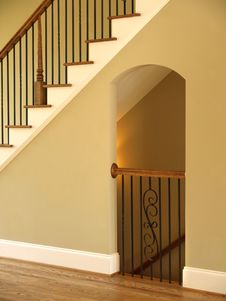 Free Luxury Model Home Staircase And Lit Opening Stock Photo - 5349540