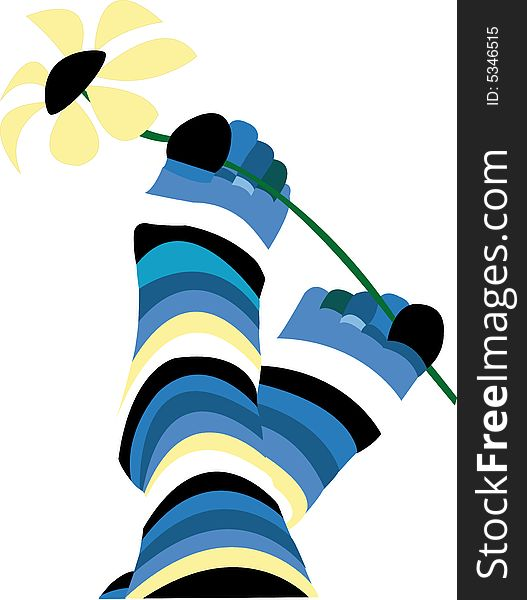 Pair cheerful striped socks with a flower