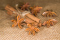 Free Star Anise And Cinnamon Sticks On Old Cloth Stock Images - 53494804