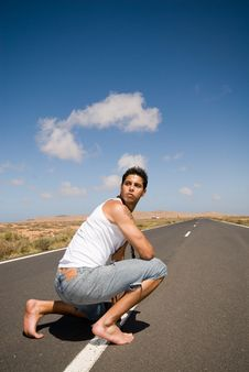 Free Man On The Road With Jeans Royalty Free Stock Photos - 5350838