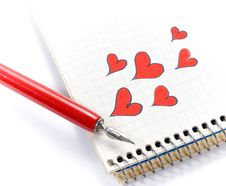 Free Red Hearts In Notebook Royalty Free Stock Photo - 5352705