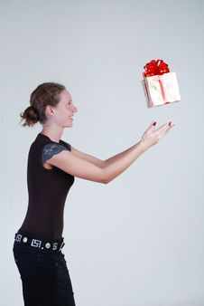 Free Girl With A Gift Royalty Free Stock Photo - 5354815