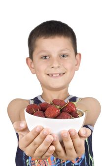 Free Boy Holding Plate With Strawberry Stock Photos - 5355543