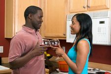 African American Couple With Wine Glasses Hori Royalty Free Stock Photo