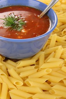 Free Red Dressing With Pasta Stock Photography - 5355832