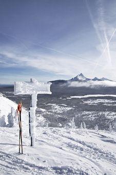Santiam Pass Ski Sign Royalty Free Stock Photography