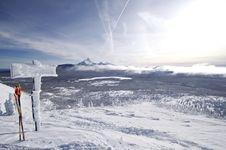 Santiam Pass Ski Sign Stock Photo