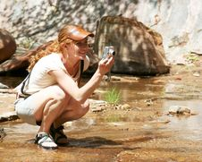 An Outdoor Lady With Camera Royalty Free Stock Photos