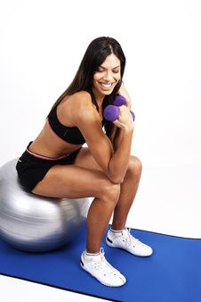 Free Beautiful Brunette Woman Exercising Royalty Free Stock Photo - 5356655