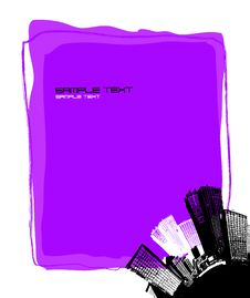 Free City With Purple Board. Vector Stock Image - 5357711