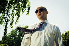 Free Businessman In The Park. Stock Photo - 5357730