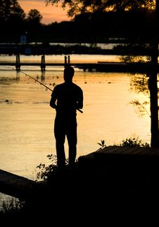 Free Fishing Sunset Silhouette Stock Photos - 5357903