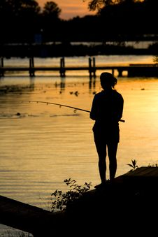 Free Fishing Sunset Silhouette Stock Photos - 5358003