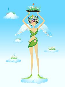 Free Beautiful Fairy On Sky Royalty Free Stock Photo - 5359165
