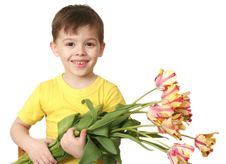 The Happy Boy With A Bouquet Of Tulips Stock Images