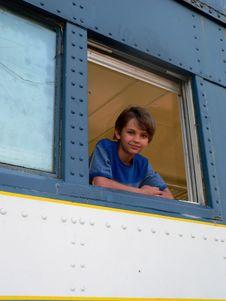 Free Little Boy Blue In Train Stock Image - 5359621