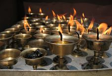 Free Candles In Kathmandu Temple, Nepal Royalty Free Stock Photography - 5359677