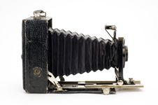 Old Classical Camera With Furs. Stock Photo